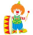 Circus clown drummer vector image