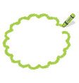 a green crayon message frame vector image