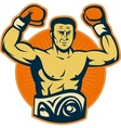 Champion boxer with championship belt vector image