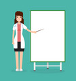 doctor female with presentation board vector image