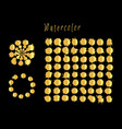 set of gold spots isolated on black vector image