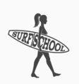 Woman goes surfing with surfboard Surf school logo vector image