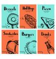 fast food vintage hand drawn graphic design set vector image