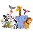 Cartoon wild animals background vector image