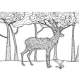 Deer coloring book for adults raster vector image