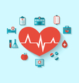 Group modern flat icons of medical elements and vector image