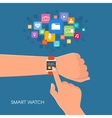 Hand with smart watch in flat vector image