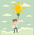 happy businessman flying holding idea bulb as vector image
