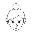 pictogram face cartoon girl rings vector image