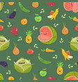 seamless background with fruits and vegetables on vector image