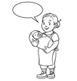 Funny mother or nanny with baby Coloring book vector image