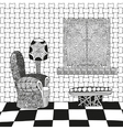 Abstract interior room in black and white colors vector image