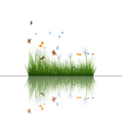 Grass with reflections in water vector