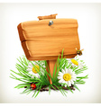 Spring time for a picnic wooden sign in a grass vector image