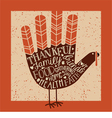 thanksgiving card with hand print turkey vector image