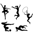 Black icons of sportive girls vector image