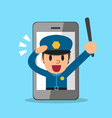 Cartoon policeman and smartphone vector image