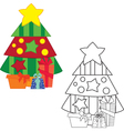 christm tree coloring book vector image