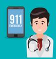 doctor smartphone 911 emergency vector image