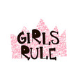 girl s rule pink glitter crown with creative text vector image
