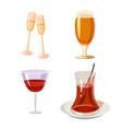 glass icon set cartoon style vector image