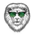 hipster lion in sunglassesprint design vector image