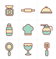 Icons Style Cooking Foods and Kitchen outline icon vector image