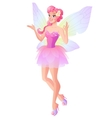 Pink fairy with butterfly wings showing ok sign vector image