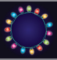 round border background of christmas light lamps vector image