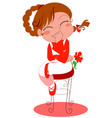 smiling girl in red vector image