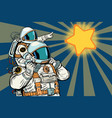 astronauts family child and father vector image