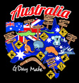 Map of Australia with nation flag and icons vector image