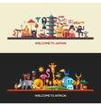 Flat design Africa Japan travel banners set vector image
