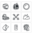 Set of Ski Resort Icons Helmet Funicular vector image