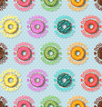 colorful doughnut and polka dot seamless pattern vector image