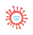 Creative logo in red ink stain vector image