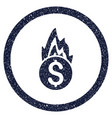 Fire damage rounded grainy icon vector image