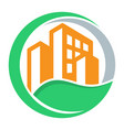 logo icon with green city concept vector image