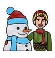 Snowman with boy winter cartoon vector image