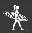 Woman goes surfing with surfboard Surf rider logo vector image