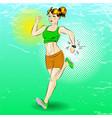 pop art of sporty girl running vector image vector image