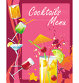 cocktails menu vector image vector image