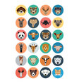 Animals Flat Colored Icons 1 vector image