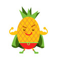 cute cartoon smiling pineapple superhero in mask vector image