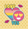 cute patches badge love yes heart smile fashion vector image