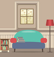 Empty Couch With Bookcase In Front Of Window vector image