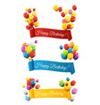 group of colour glossy helium balloons with ribbon vector image