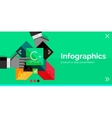 Infographic flat design banner with hands vector image