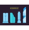 modern skyscrapers icons set on the dark vector image
