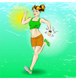 pop art of sporty girl running vector image